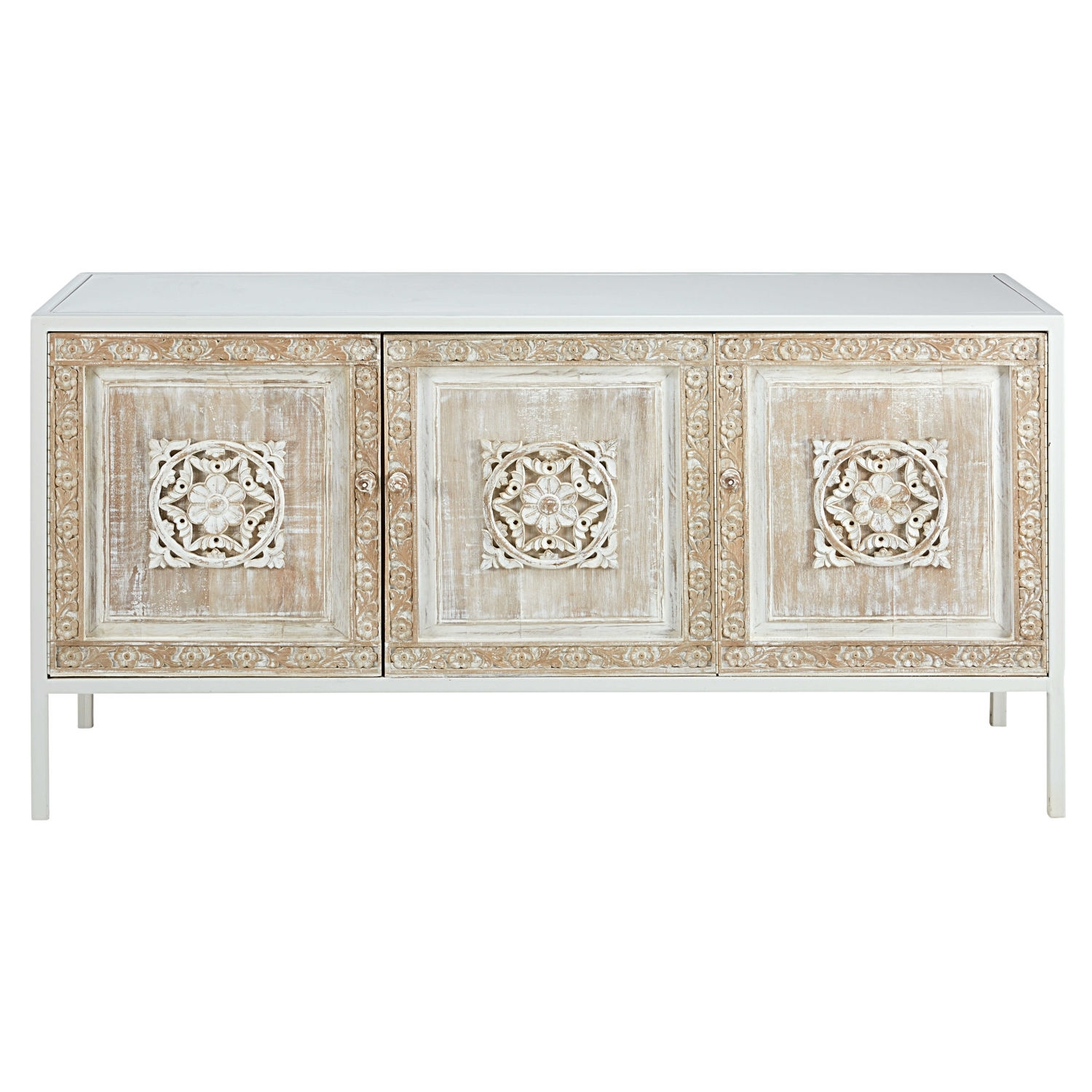 White Metal And Sculpted Mango Wood 3 Door Sideboard | Maisons Du Monde Regarding Carved 4 Door Metal Frame Sideboards (View 28 of 30)