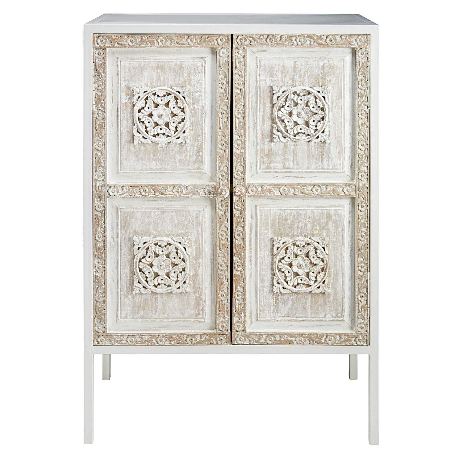 White Metal And Sculpted Mango Wood Sideboard | Maisons Du Monde regarding Carved 4 Door Metal Frame Sideboards (Image 29 of 30)
