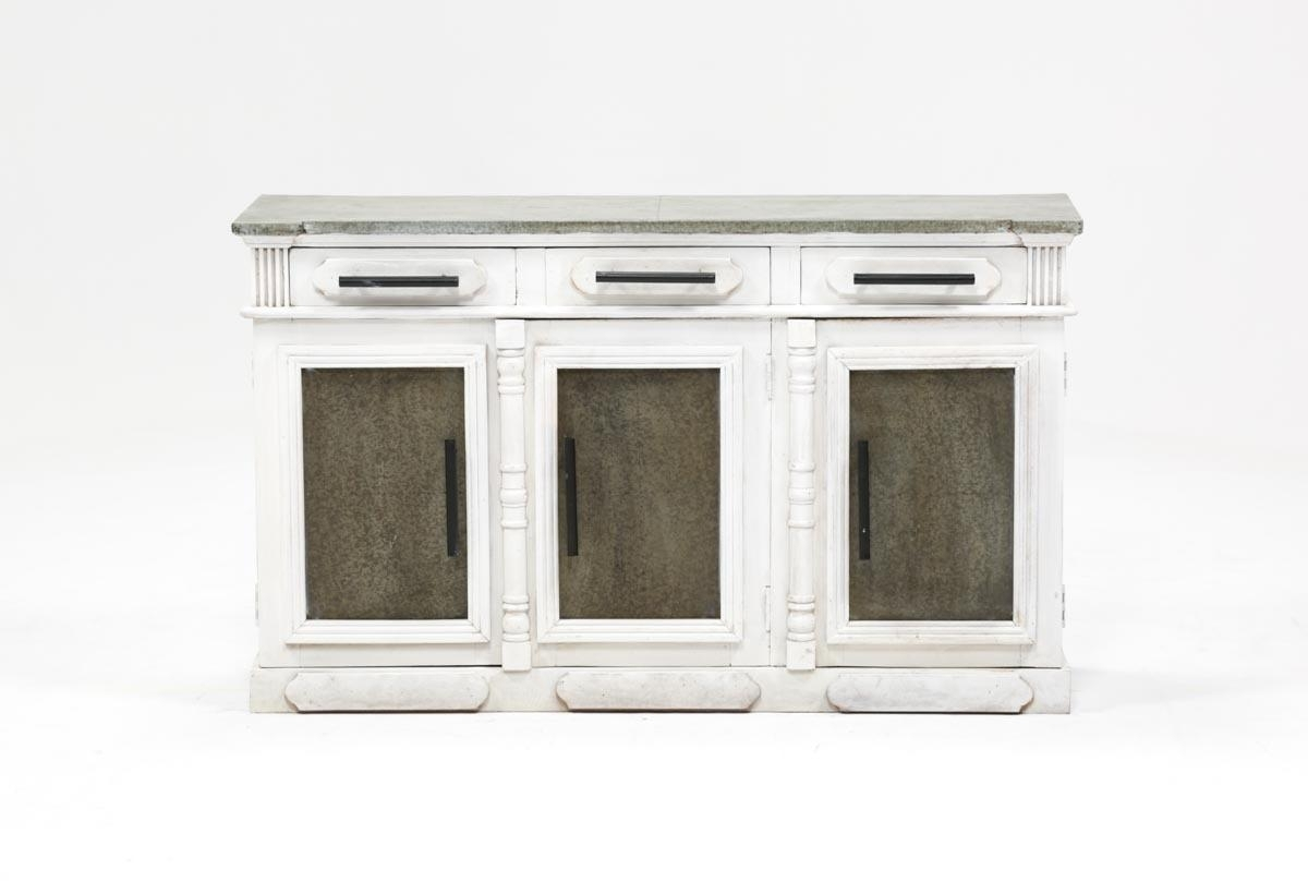 White Wash 3-Door/3-Drawer Sideboard | Living Spaces with White Wash 4-Door Galvanized Sideboards (Image 28 of 30)