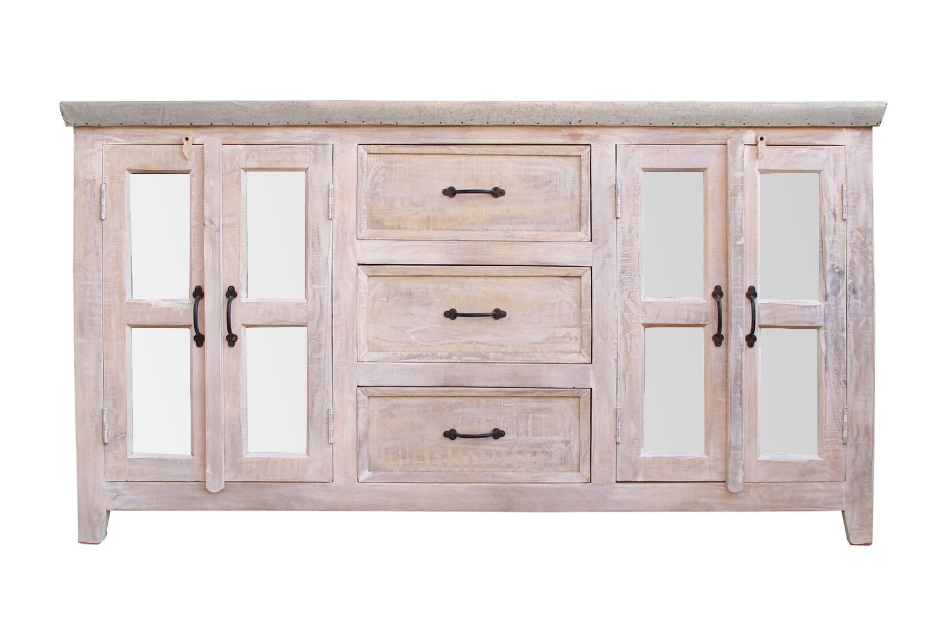 White Wash 4 Door/3 Drawer Glass Sideboard Intended For White Wash 3 Door 3 Drawer Sideboards (Photo 3 of 30)