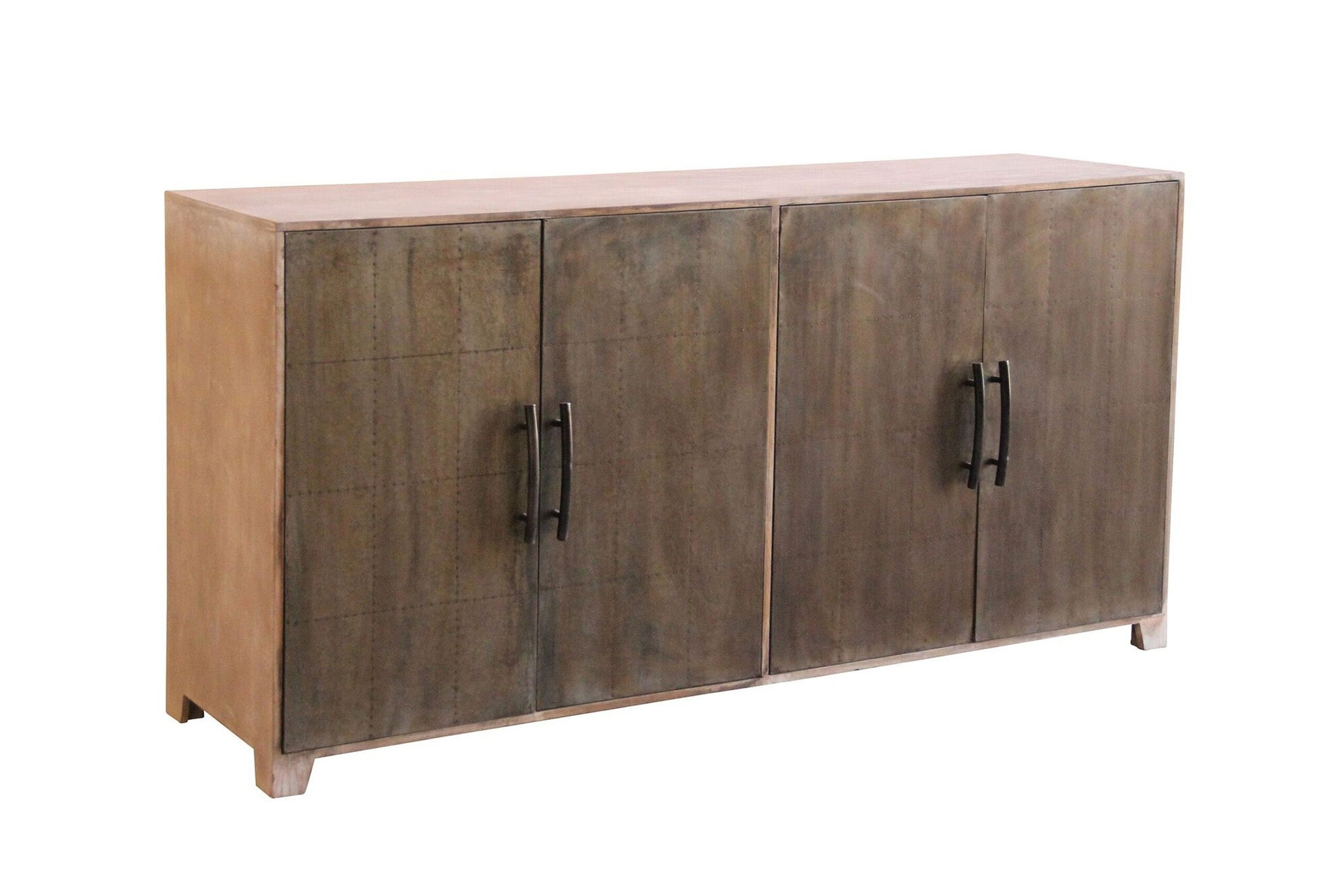 White Wash 4-Door Galvanized Sideboard | Products with Reclaimed Elm 71 Inch Sideboards (Image 28 of 30)