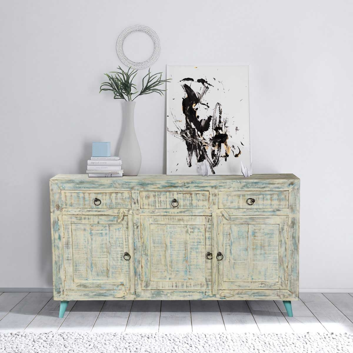 White Washed Reclaimed Wood Standing 3 Drawer Rustic Sideboard Cabinet Within 3 Drawer/2 Door White Wash Sideboards (Photo 26 of 30)