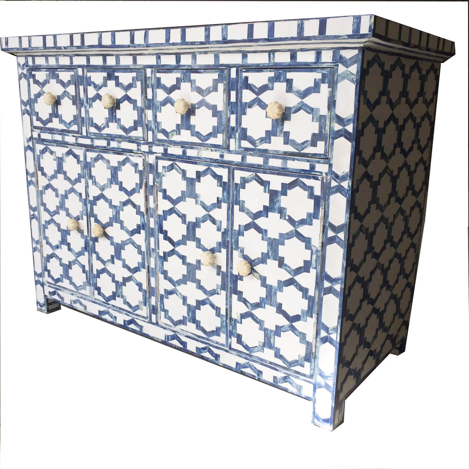 White With Blue Bone Sideboard | Iris Furnishing In Geo Pattern Black And White Bone Inlay Sideboards (Photo 15 of 30)