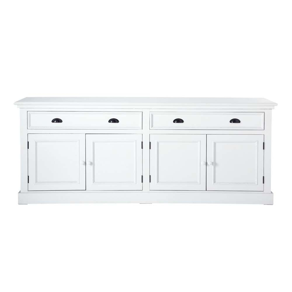 White Wood 4-Door 4-Drawer Sideboard | Maisons Du Monde in Satin Black & Painted White Sideboards (Image 29 of 30)
