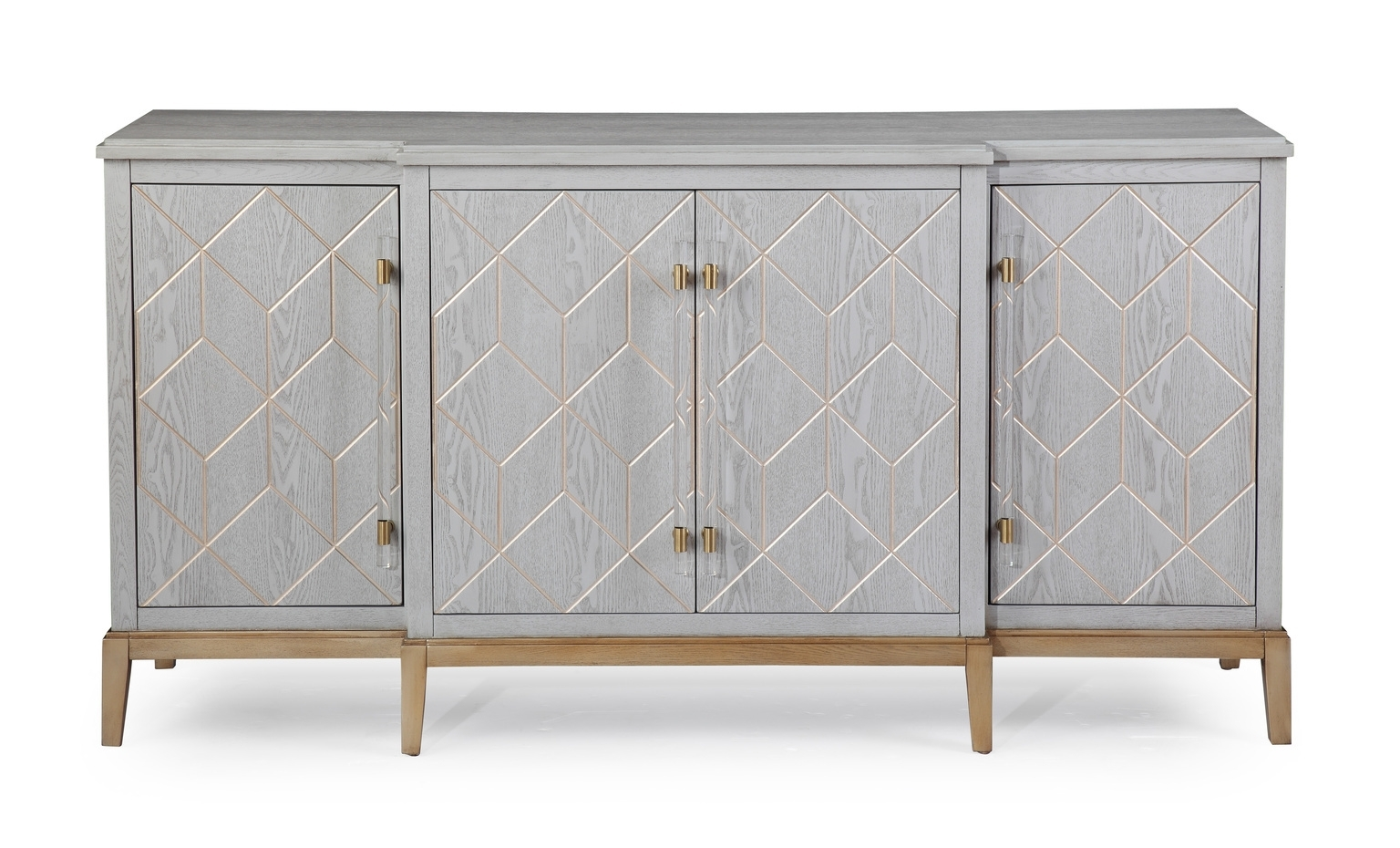 White Wood Gold Base Sideboard Cabinet Intended For Geo Pattern Black And White Bone Inlay Sideboards (Photo 25 of 30)