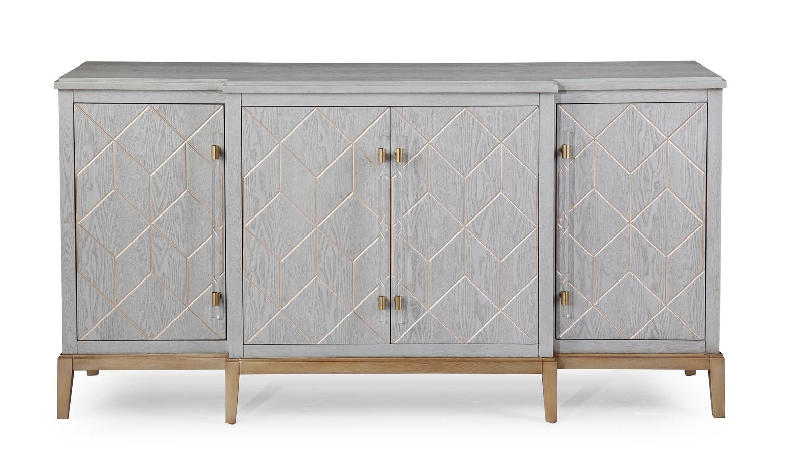 White Wood Gold Base Sideboard Cabinet regarding Diamond Circle Sideboards (Image 30 of 30)