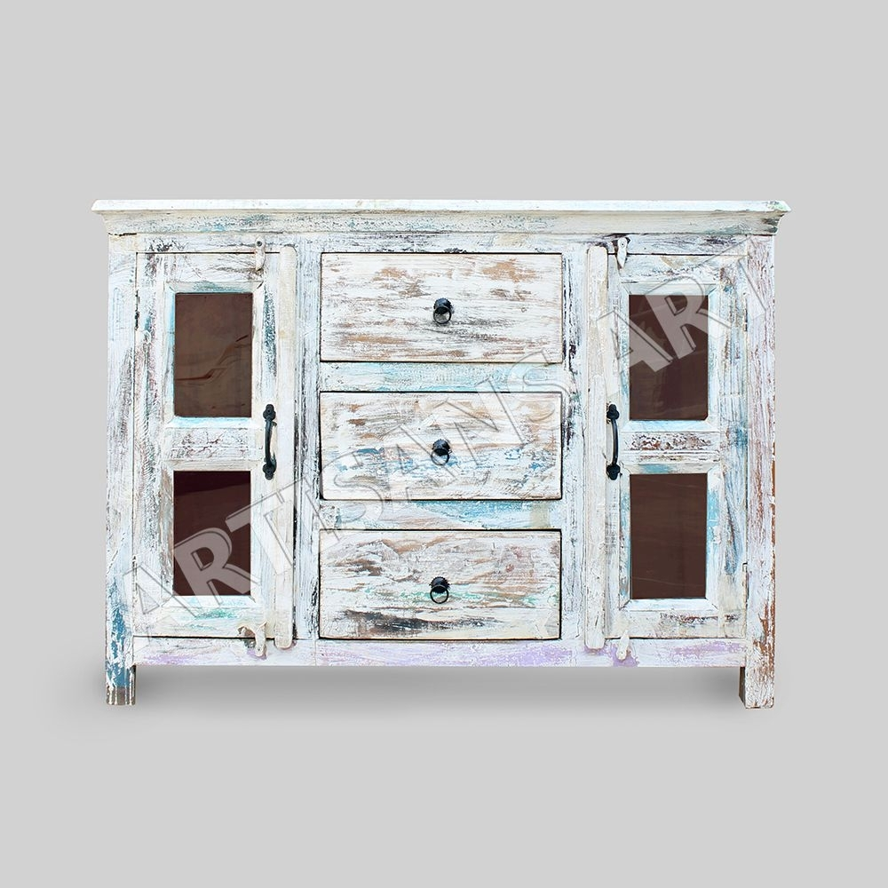 Whitewashed Reclaimed 2 Glass Door Cabinet,hand Finished Antique Throughout Corrugated White Wash Sideboards (Photo 21 of 30)
