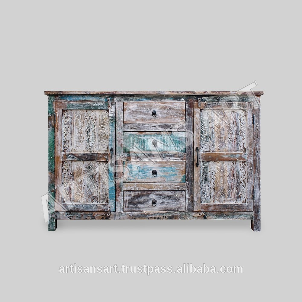 Whitewashed Reclaimed Wood 2 Door 4 Drawer Sideboard,hand Finished Pertaining To 4 Door 3 Drawer White Wash Sideboards (View 19 of 30)