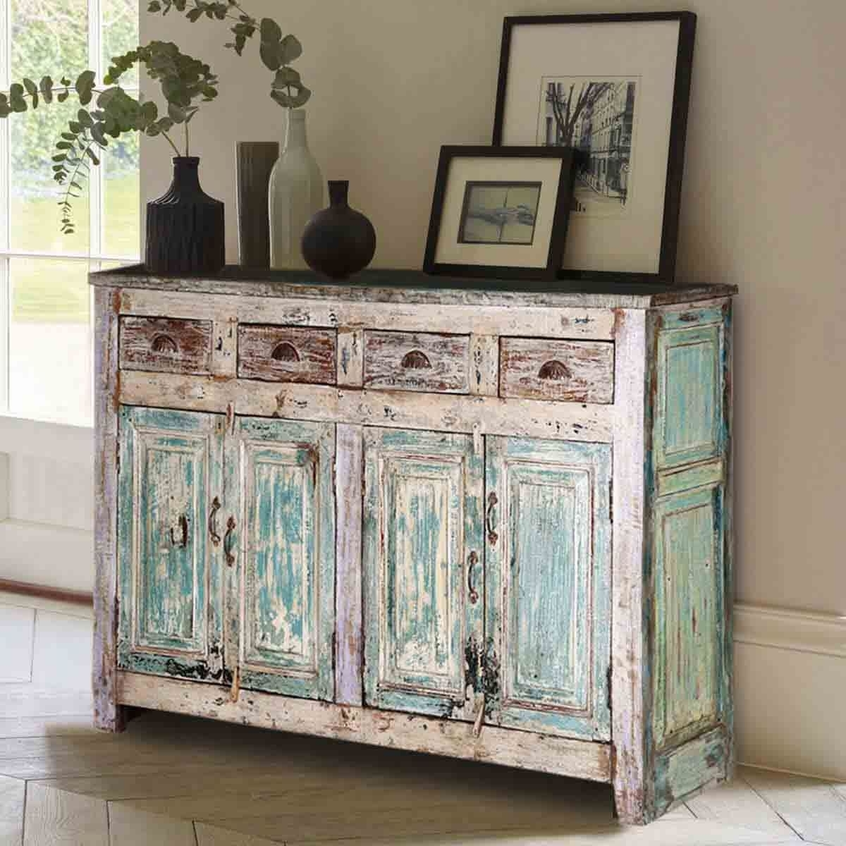 Winchester Distressed Rustic Reclaimed Wood 4 Drawer Sideboard with regard to Reclaimed Pine Turquoise 4-Door Sideboards (Image 30 of 30)