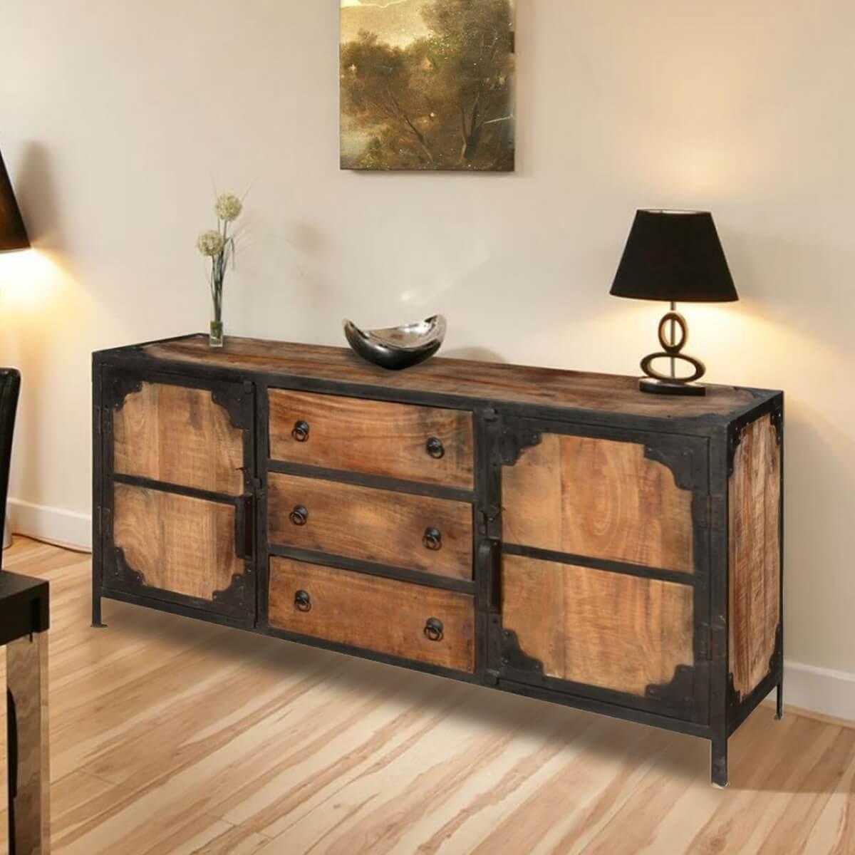 Windsor Solid Wood & Iron 3 Drawer & 2 Door Industrial Buffet Cabinet in Industrial 3 Drawer 3 Door Sideboards (Image 30 of 30)