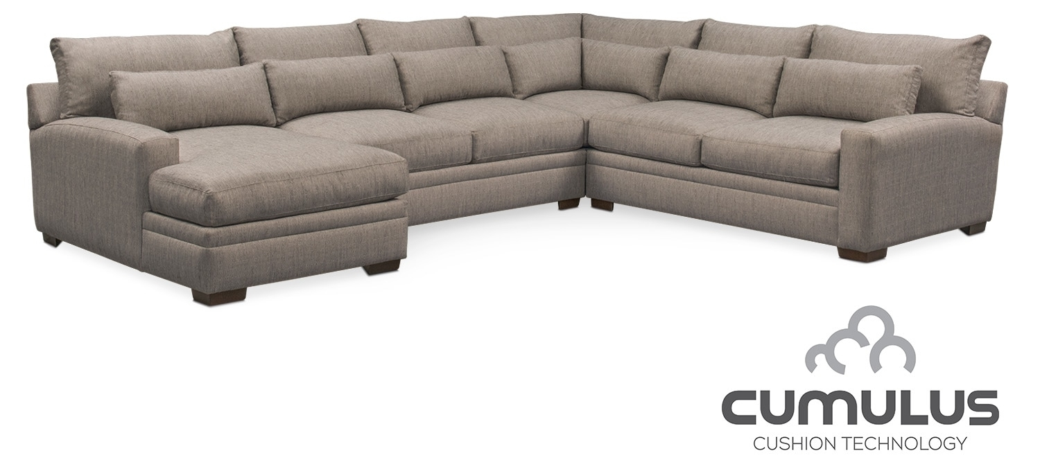 Winston Cumulus 4 Piece Sectional With Left Facing Chaise   Gray Throughout Haven 3 Piece Sectionals (Photo 13 of 32)