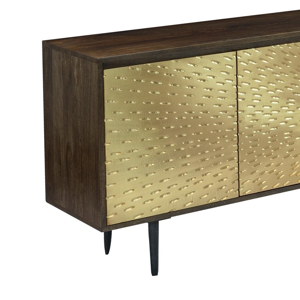 Wood & Brass Three Door Sideboard In Dark Mango | Humble Abode for Square Brass 4 Door Sideboards (Image 28 of 30)