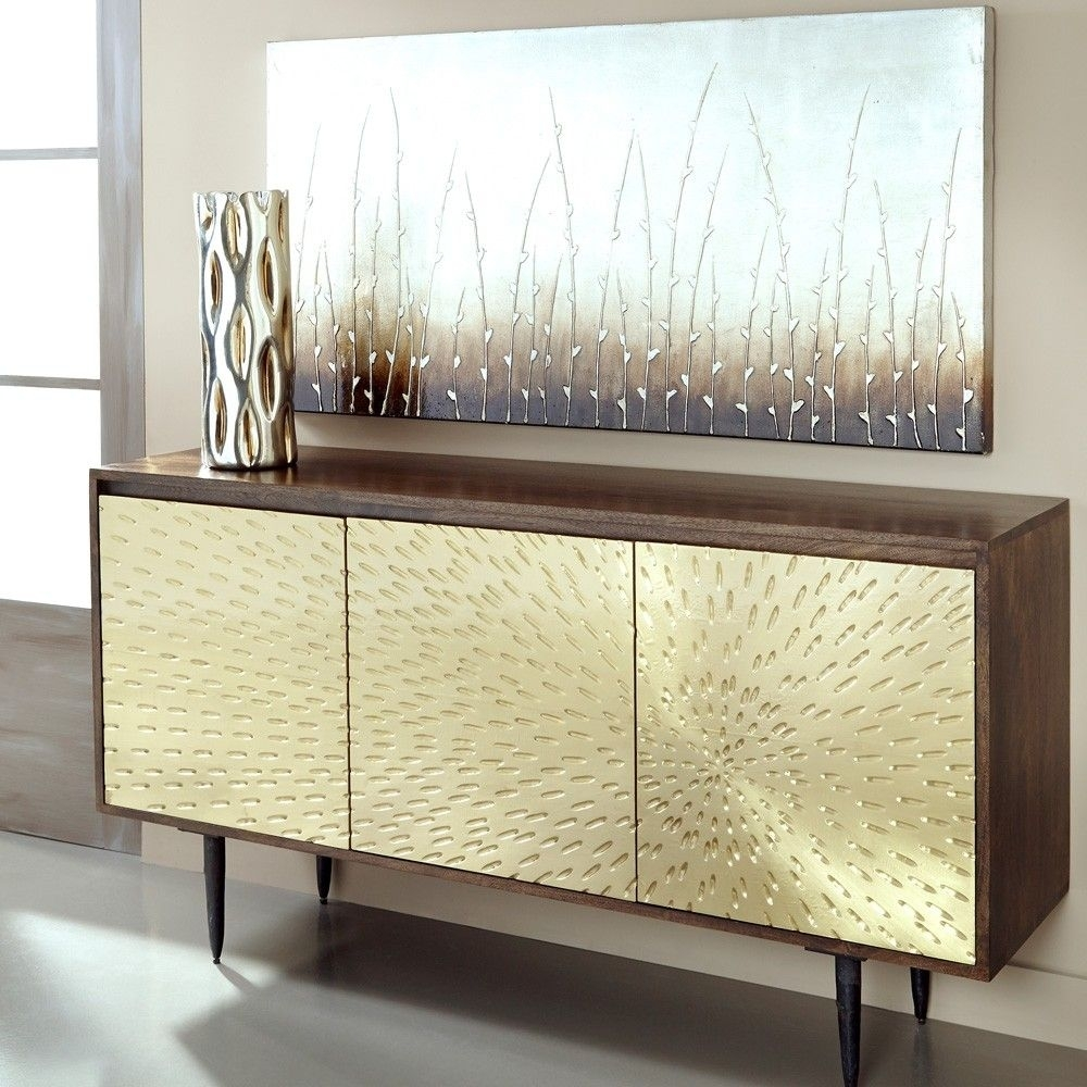 Wood & Brass Three Door Sideboard In Dark Mangocoast To Coast Within Natural Oak Wood 78 Inch Sideboards (Photo 30 of 30)