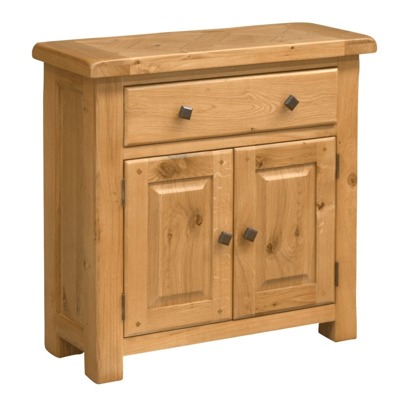 Wood Sideboard/ Oak /compact/ 1 Drawer, 2 Doors/ Oak Parquet Effect inside Parquet Sideboards (Image 29 of 30)