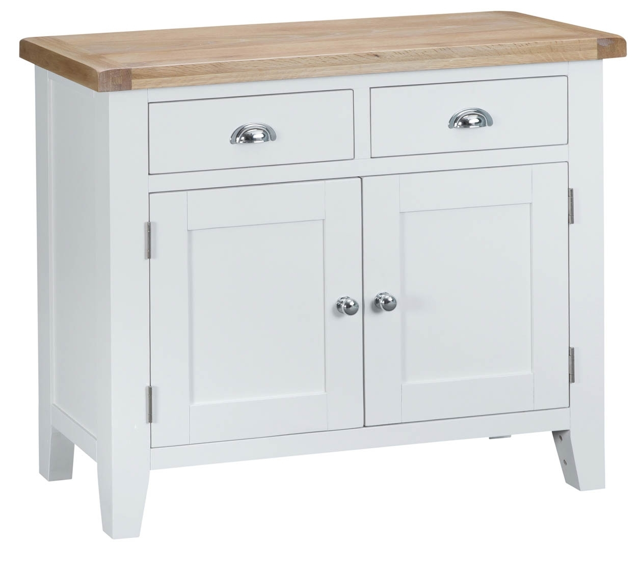 Woodbridge 2 Door White Sideboard | Fully Assembled | Oak World With Regard To 3 Drawer/2 Door White Wash Sideboards (Photo 14 of 30)