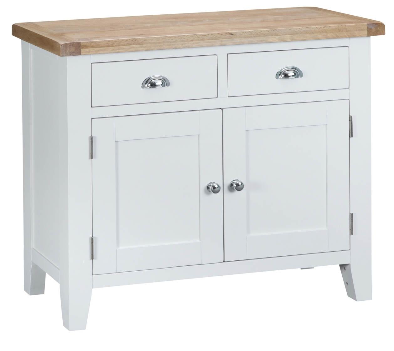 Woodbridge 2 Door White Sideboard | Fully Assembled | Oak World with regard to 3-Drawer/2-Door White Wash Sideboards (Image 30 of 30)