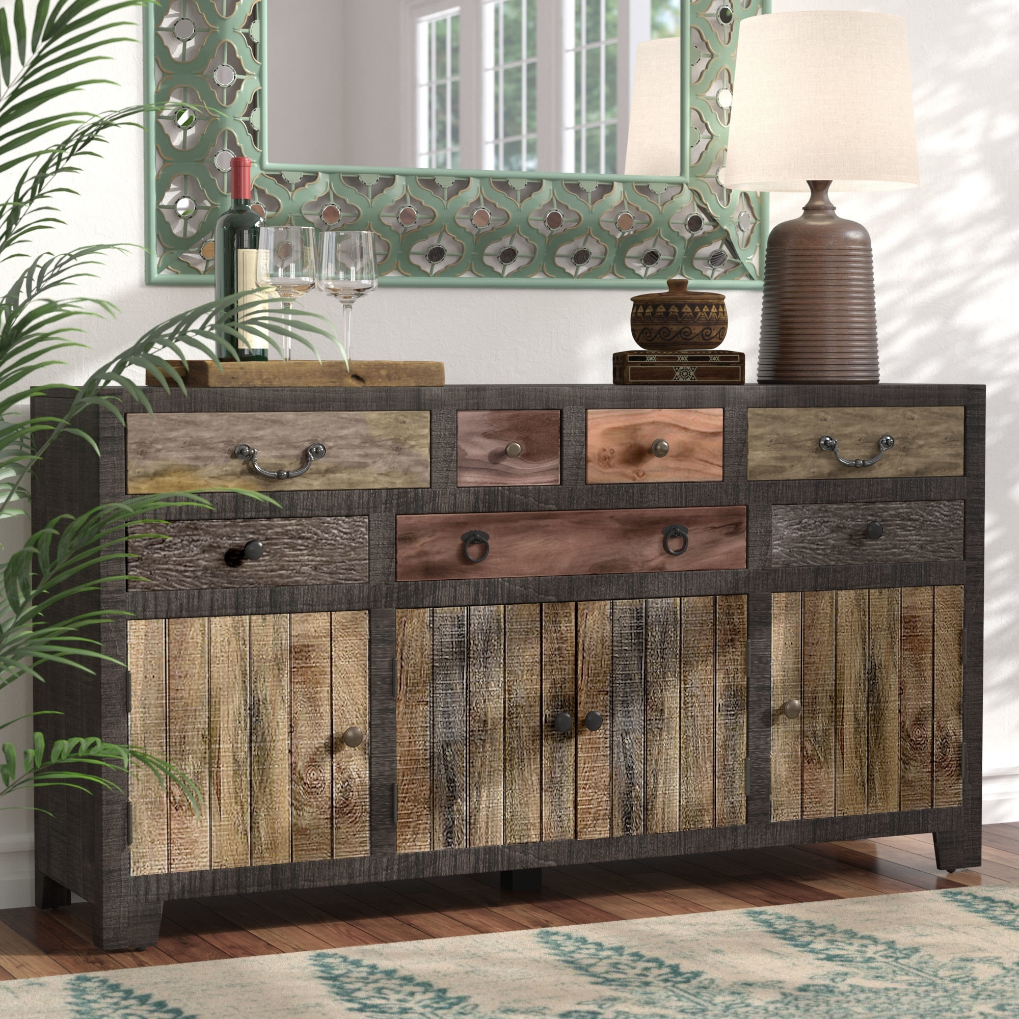 World Menagerie Moultry 7 Drawer 4 Door Sideboard & Reviews | Wayfair inside Carved 4 Door Metal Frame Sideboards (Image 30 of 30)