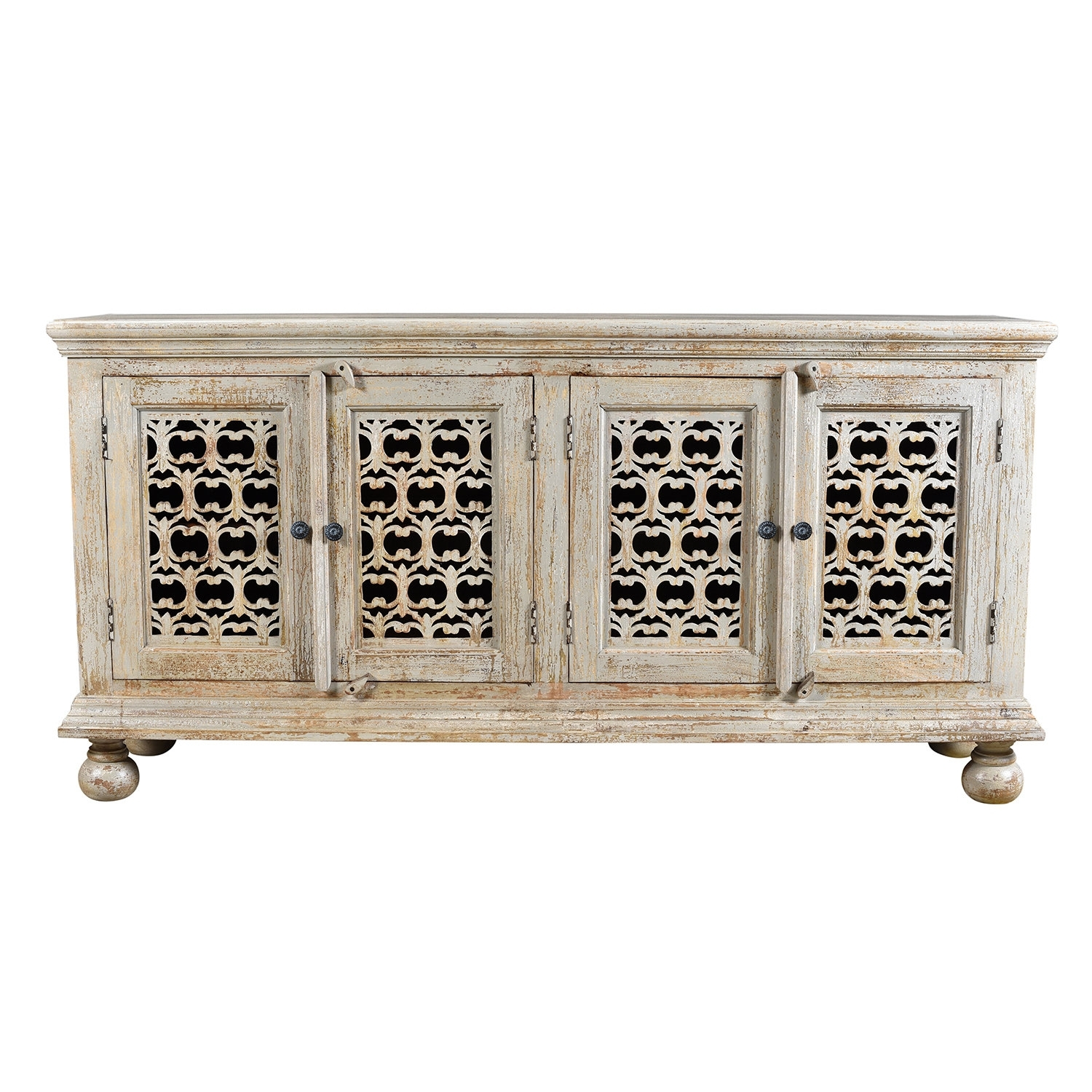 World Menagerie Pomona Mango Wood Aged 4 Door Carved Sideboard | Wayfair Regarding Mango Wood Grey 4 Drawer 4 Door Sideboards (Photo 11 of 30)