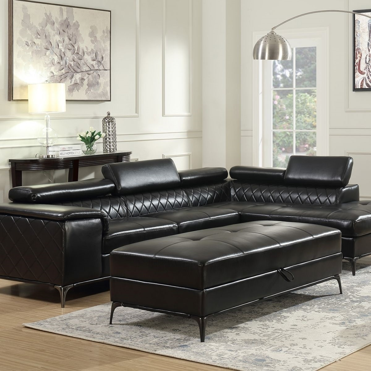 Worthington Black 2 Pc Sectional & Ottoman | Badcock & More for Cosmos Grey 2 Piece Sectionals With Raf Chaise (Image 29 of 30)