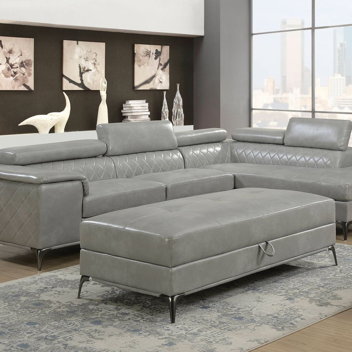 Worthington Grey 2 Pc Sectional & Ottoman | Badcock & More intended for Cosmos Grey 2 Piece Sectionals With Laf Chaise (Image 29 of 30)