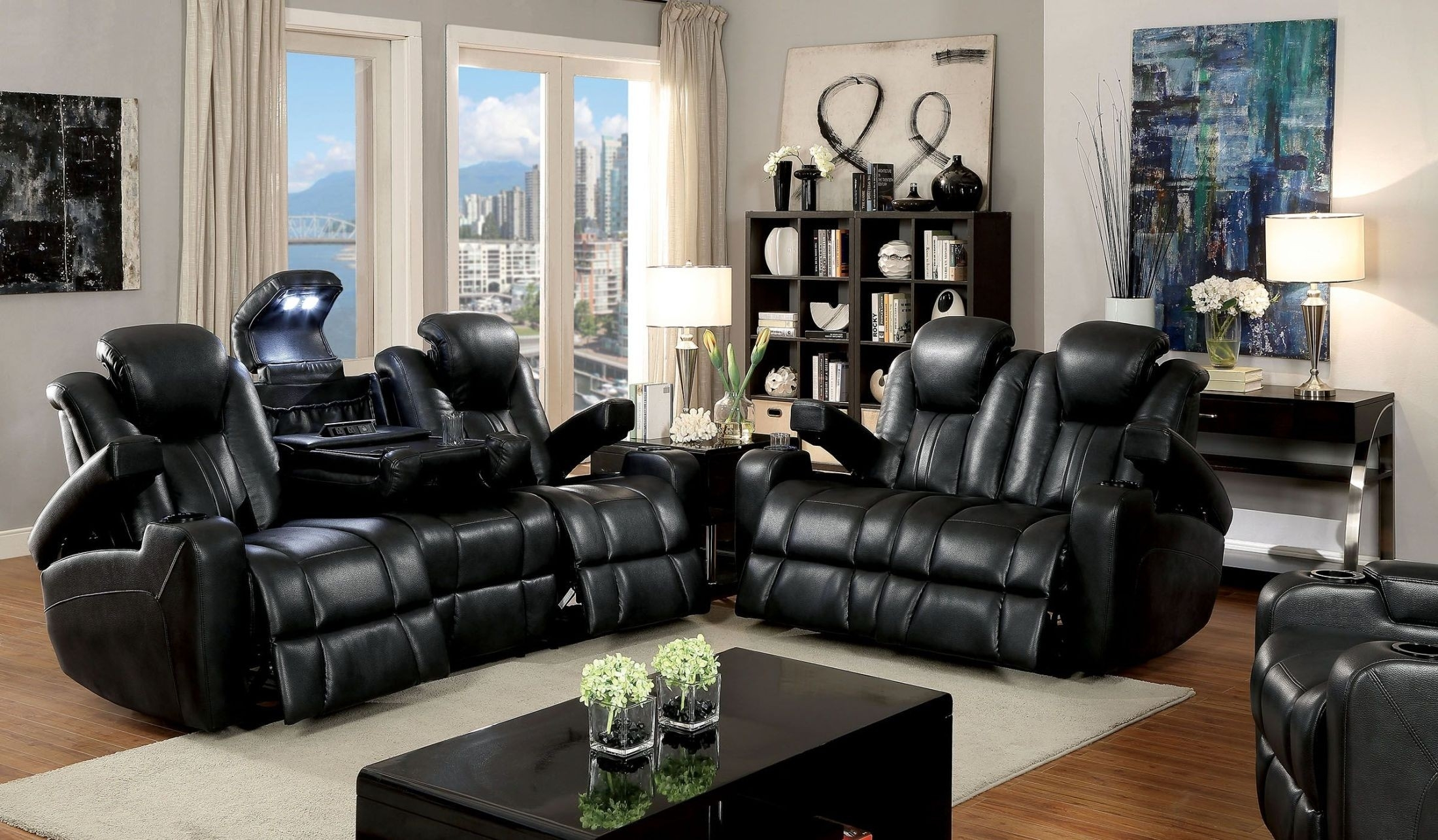 Zaurak Dark Gray Reclining Living Room Set From Furniture Of America within Marcus Chocolate 6 Piece Sectionals With Power Headrest And Usb (Image 30 of 30)