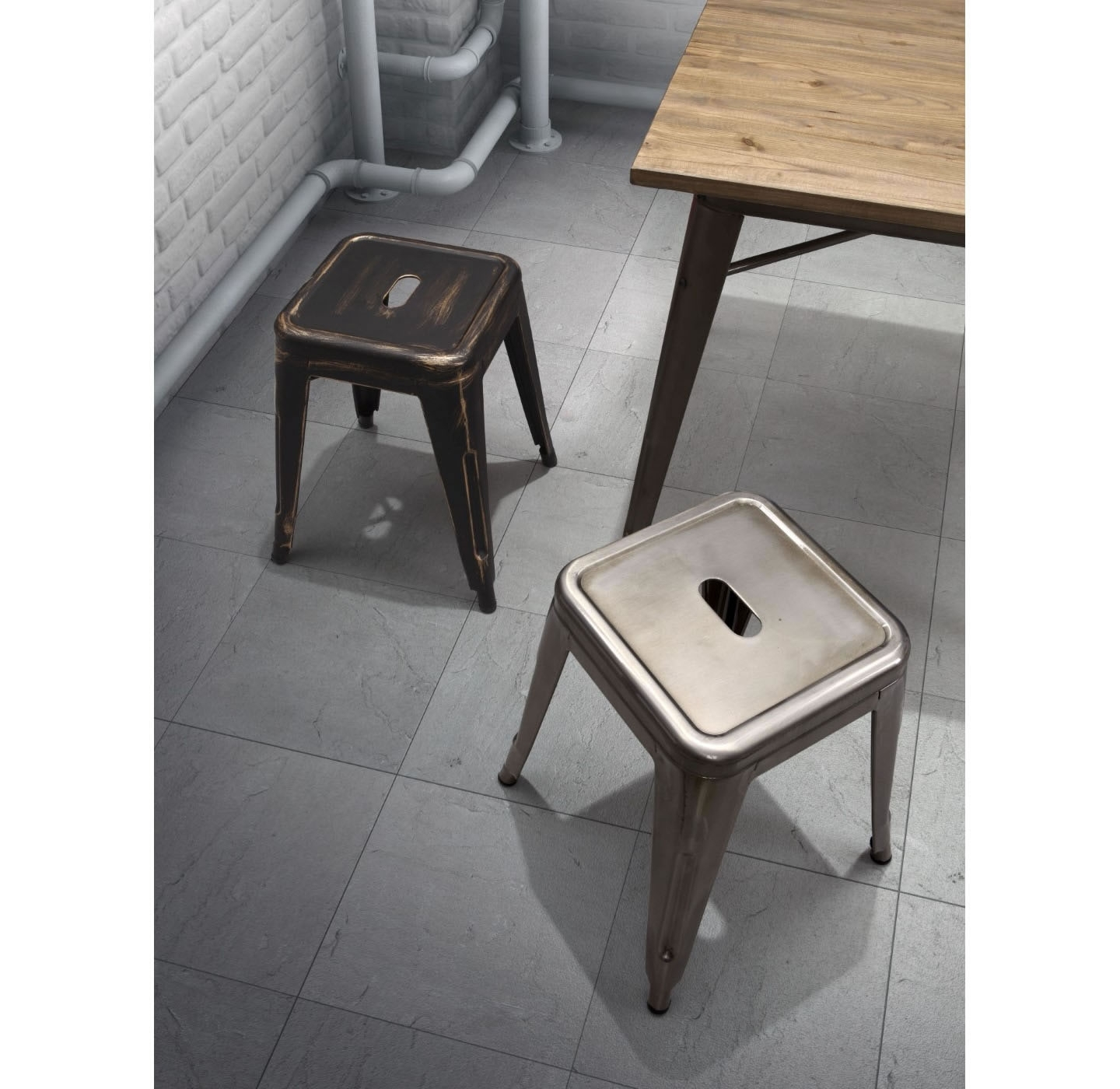 "Zuo Era Vintage Marius 25.7"" Counter Stool (Set Of 2   Gunmetal With Marius Dark Grey 3 Piece Sectionals (Photo 29 of 30)"