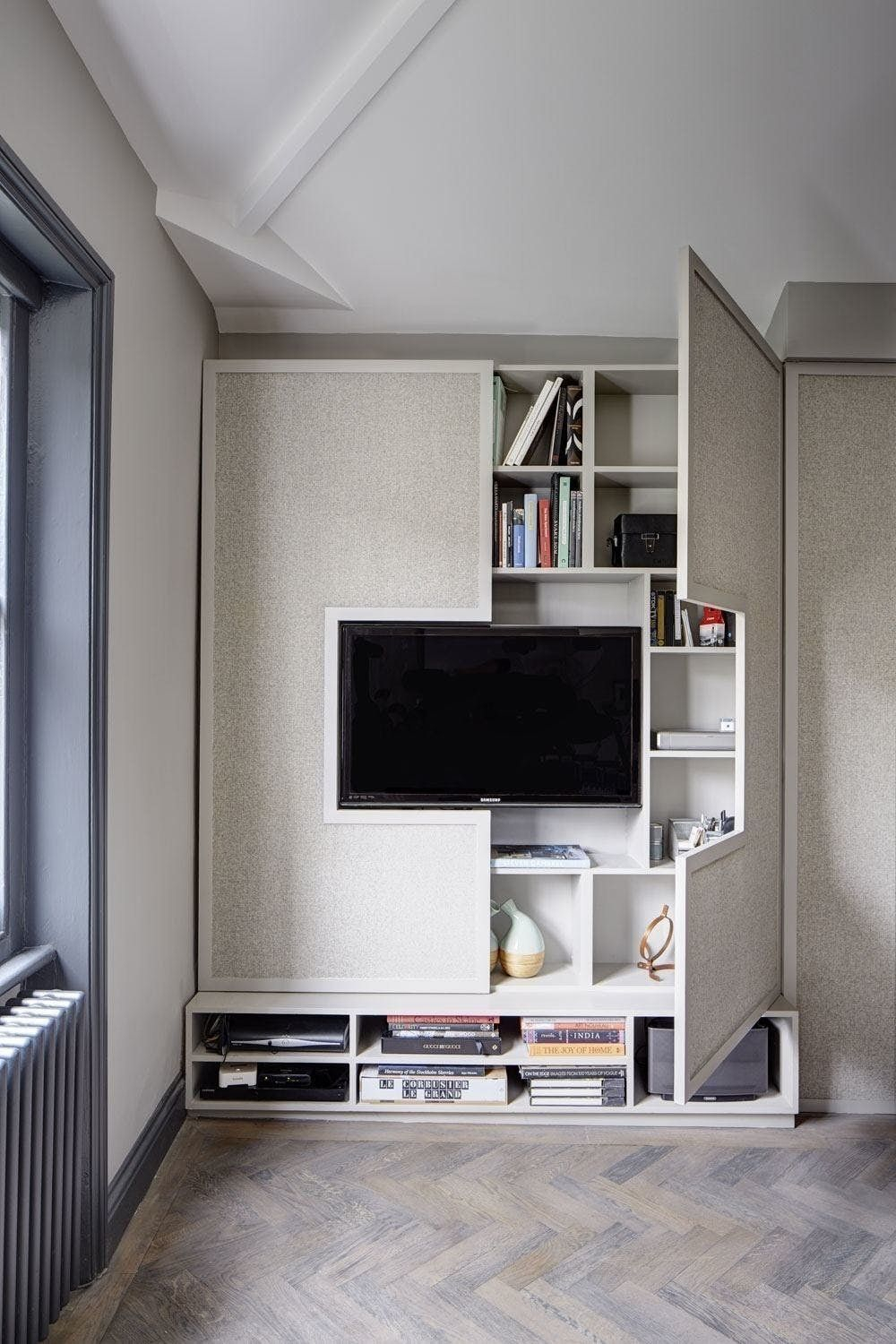 14 Hidden Storage Ideas For Small Spaces – Brit + Co | Tv Stand Diy Inside Bale Rustic Grey 82 Inch Tv Stands (Photo 11 of 30)