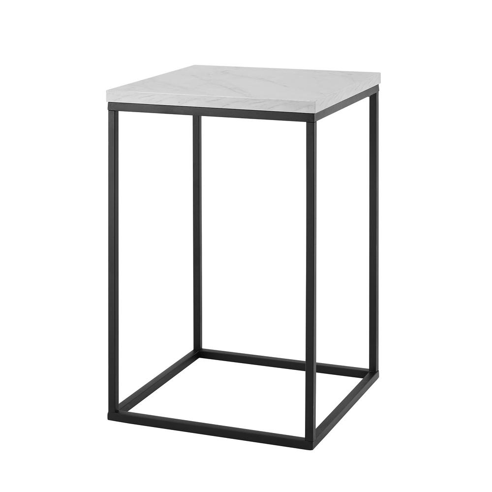 16 In. White Marble Open Box Side Table | Products | Pinterest regarding Mix Agate Metal Frame Console Tables (Image 1 of 30)