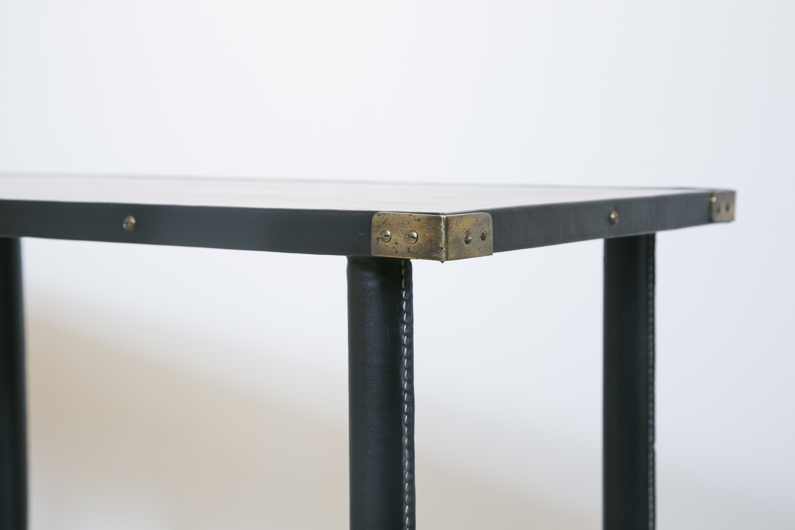 1950S Stitched Leather Consolejacques Adnet (1900-1984 throughout Jacque Console Tables (Image 2 of 30)