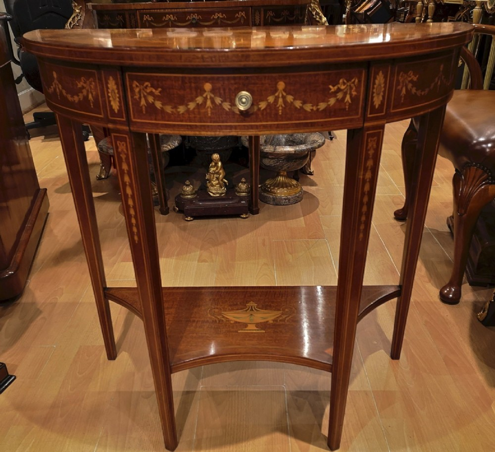 19Th Century Mahogany And Inlaid Console Table | 595605 Intended For Orange Inlay Console Tables (View 1 of 30)