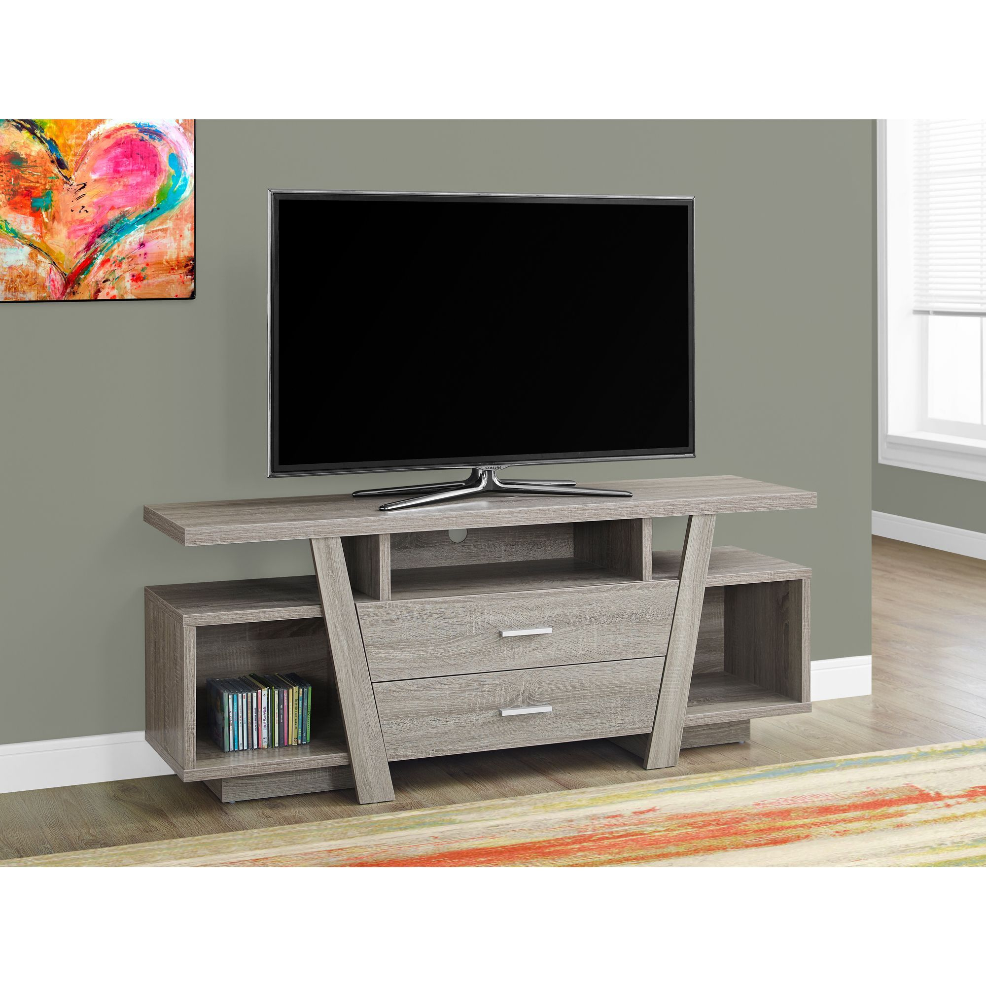 2-Drawer Dark Taupe 60-Inch Tv Stand (Tv Stand - 60L / Dark Taupe throughout Rowan 64 Inch Tv Stands (Image 1 of 30)