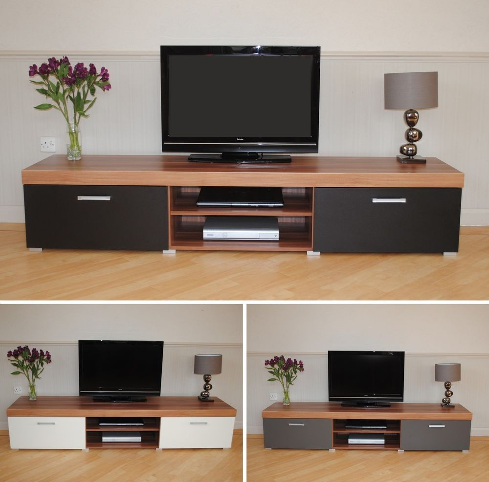 2 Metre Large 2 Door Tv Cabinet Plasma Bench Stand Unit Black Walnut With Natural 2 Door Plasma Console Tables (Photo 12 of 30)