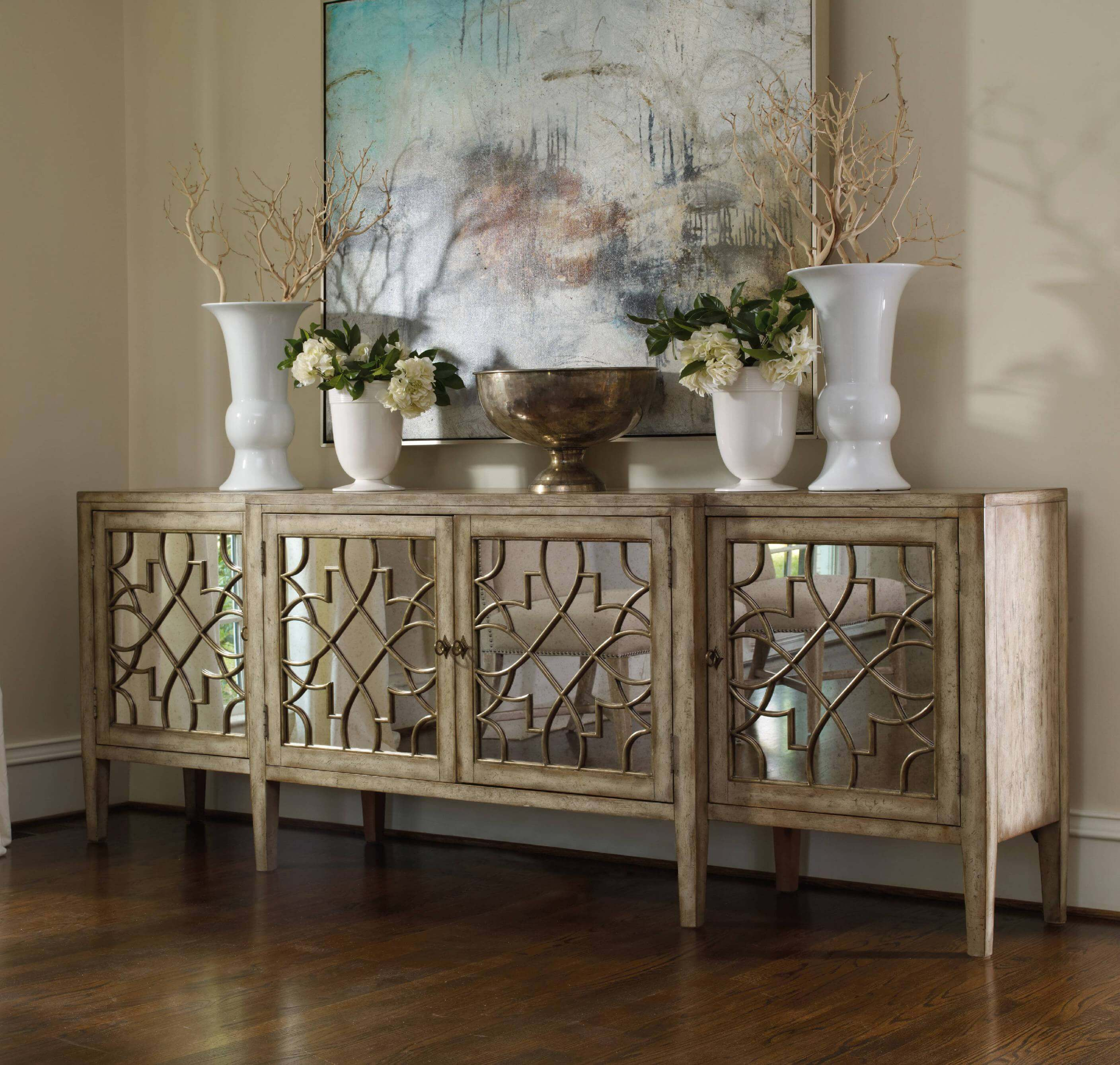 30 Best Rustic Glam Decoration Ideas And Designs For 2019 Pertaining To Natural Wood Mirrored Media Console Tables (Photo 23 of 30)
