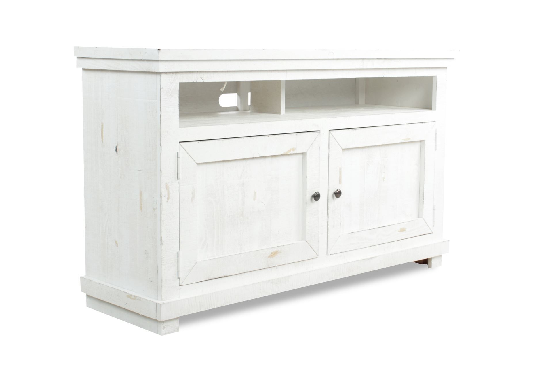 54 Inch Tv Stand, Sinclair White, Weathered White | Consoles, Tv Throughout Sinclair White 54 Inch Tv Stands (View 3 of 30)