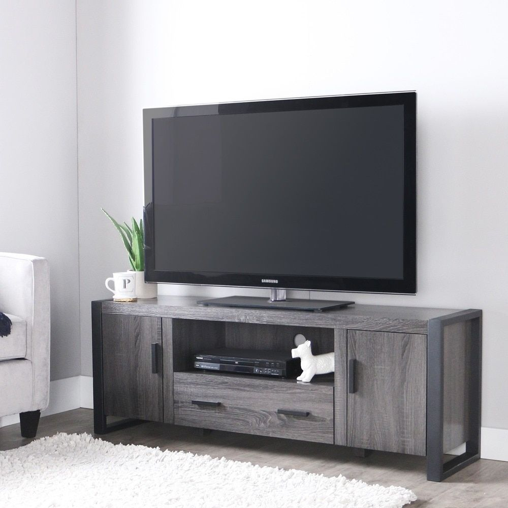 60 Inch Charcoal Grey Tv Stand | Media Room | Pinterest | Grey Tvs Pertaining To Sinclair Grey 74 Inch Tv Stands (View 3 of 30)