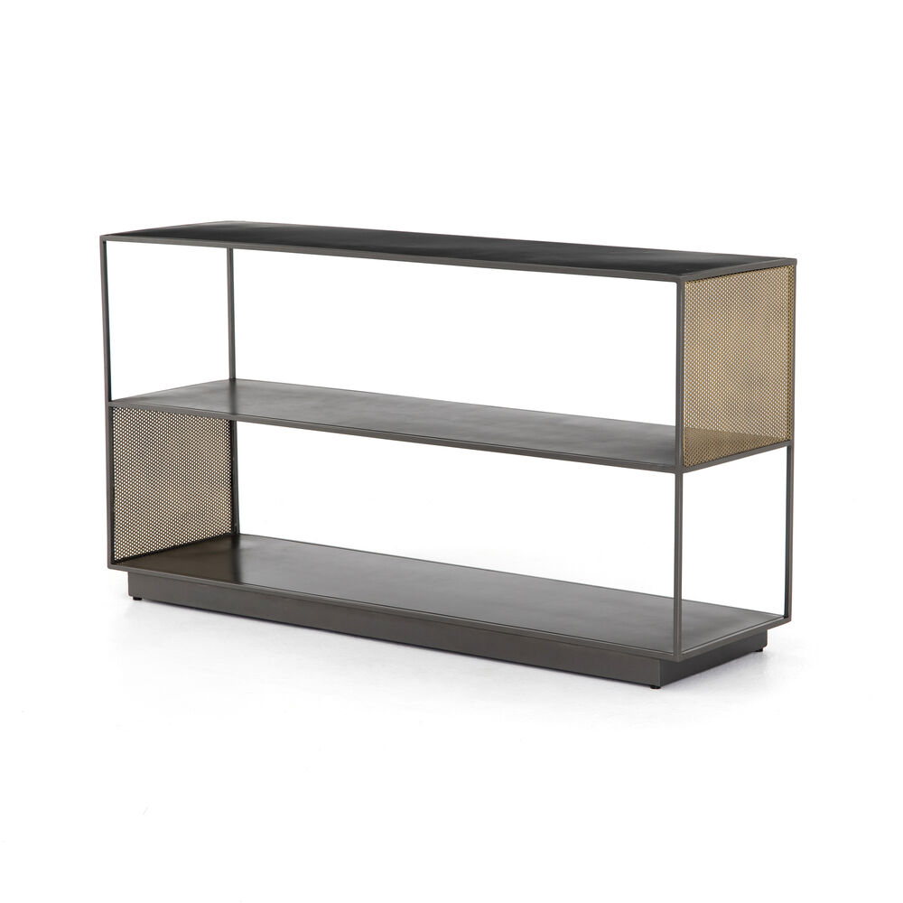 """60"""" Wide Gabriele Media Console Iron In Gunmetal Perforated Brass With Gunmetal Perforated Brass Media Console Tables (View 3 of 30)"""