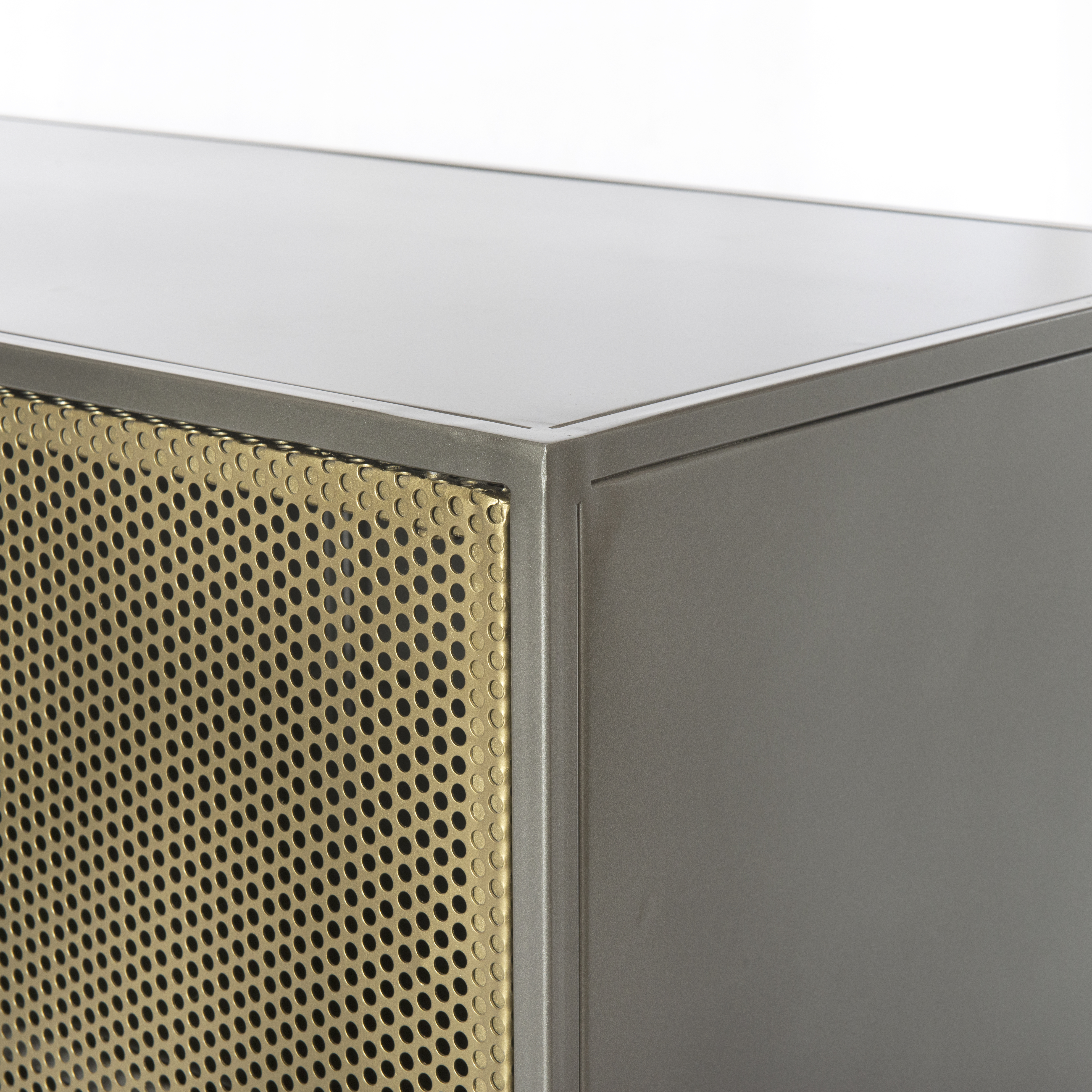 "63"" Wide Liliana Media Console Perforated Brass Panel Front Dual Within Gunmetal Perforated Brass Media Console Tables (Photo 16 of 30)"