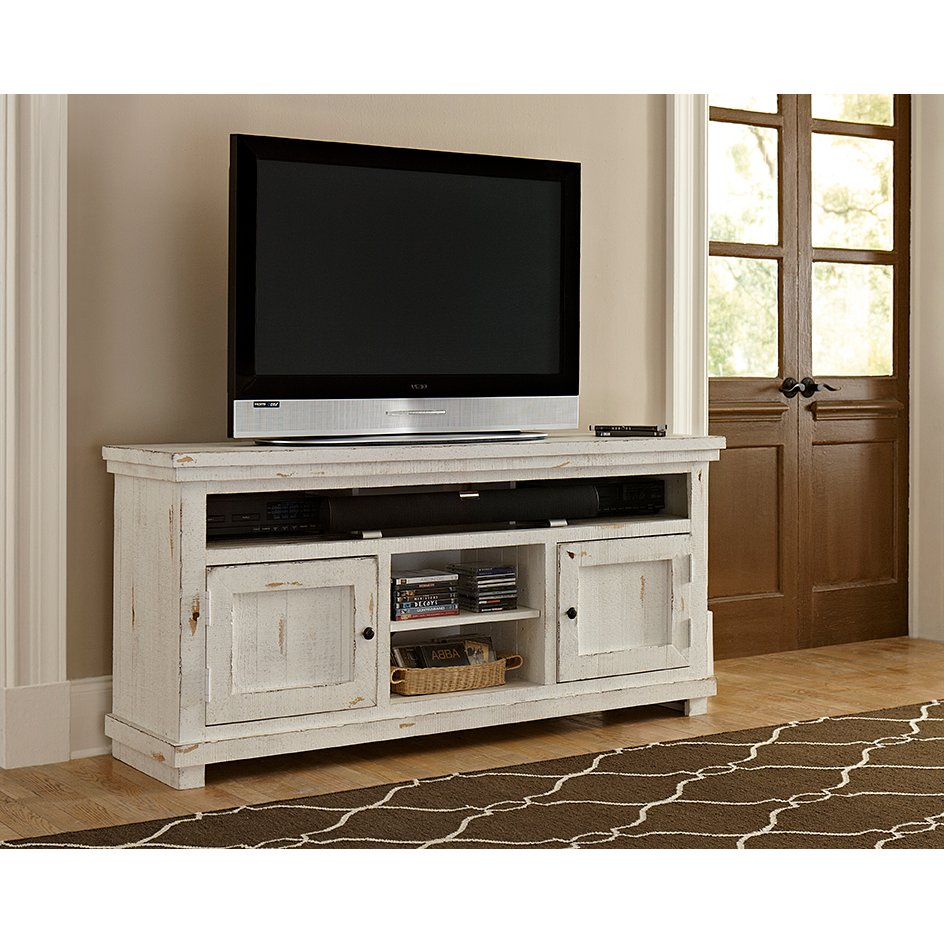64 Inch Distressed White Tv Stand – Willow | Rc Willey Furniture Store In Draper 62 Inch Tv Stands (View 7 of 30)