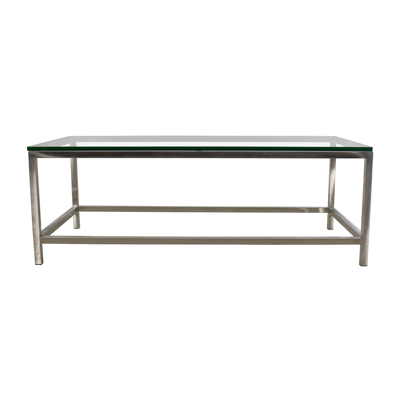 64% Off – Crate And Barrel Crate & Barrel Era Rectangular Glass Top Regarding Era Glass Console Tables (Gallery 11 of 30)