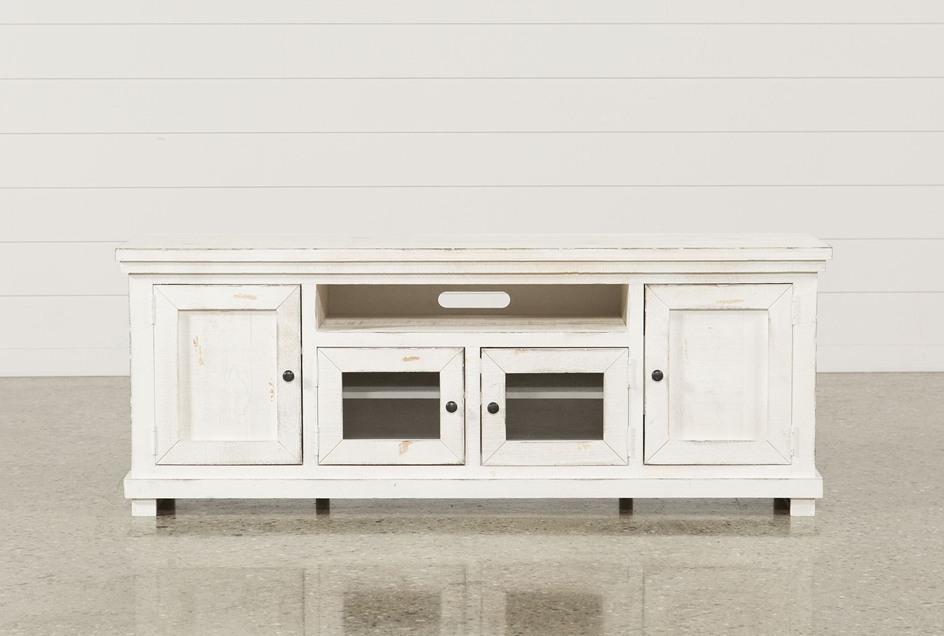 74 Inch Tv Stand, Sinclair White, Weathered White | Tv Stands within Walton 74 Inch Open Tv Stands (Image 5 of 30)