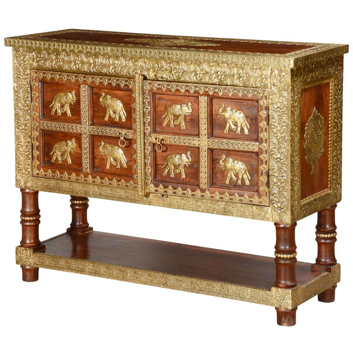 8 Golden Elephants Mango Wood & Brass Inlay Console Table Chest Within Orange Inlay Console Tables (View 2 of 30)