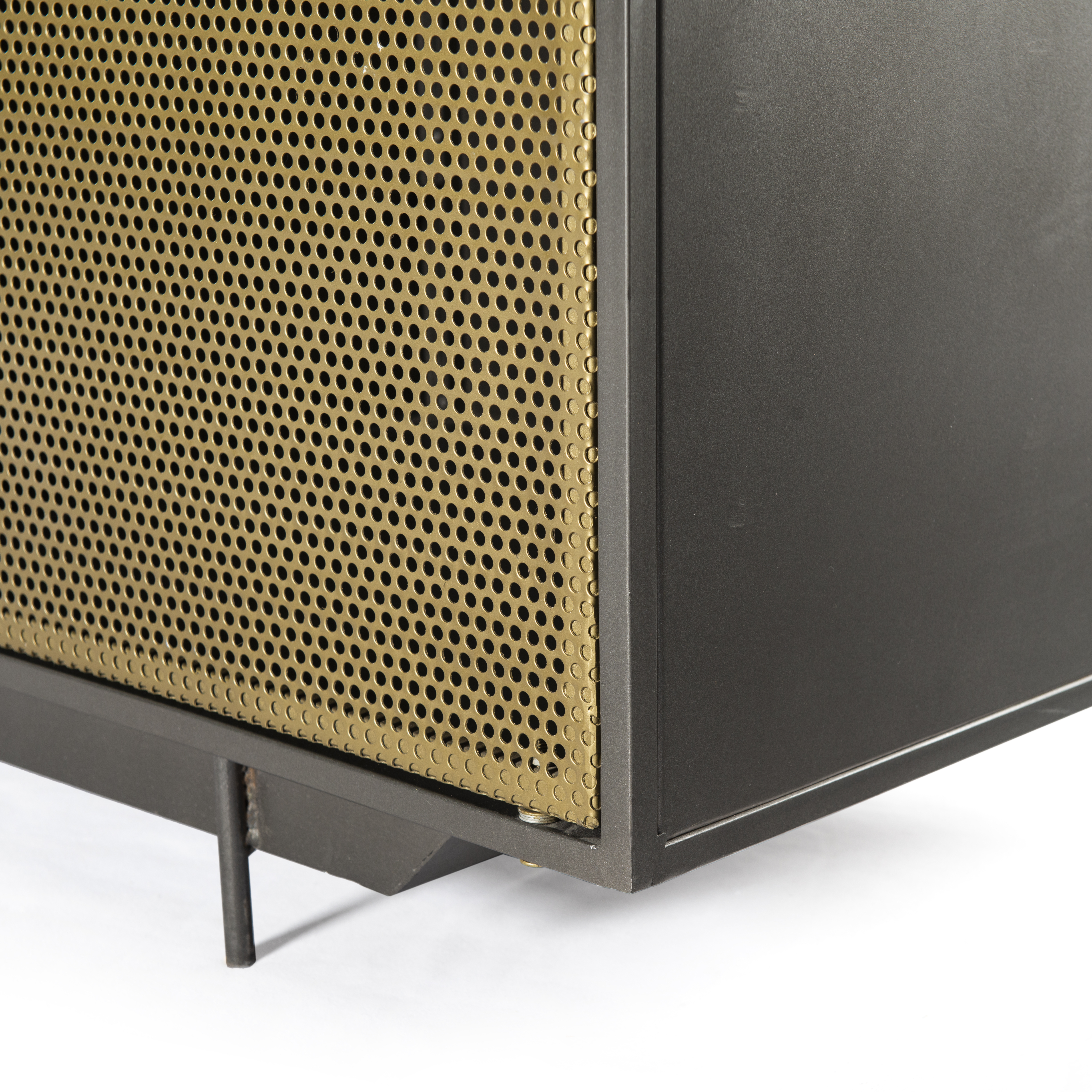 "83"" L Romolo Media Console Iron Glass Perforated Brass Clear Inside Gunmetal Perforated Brass Media Console Tables (Photo 6 of 30)"