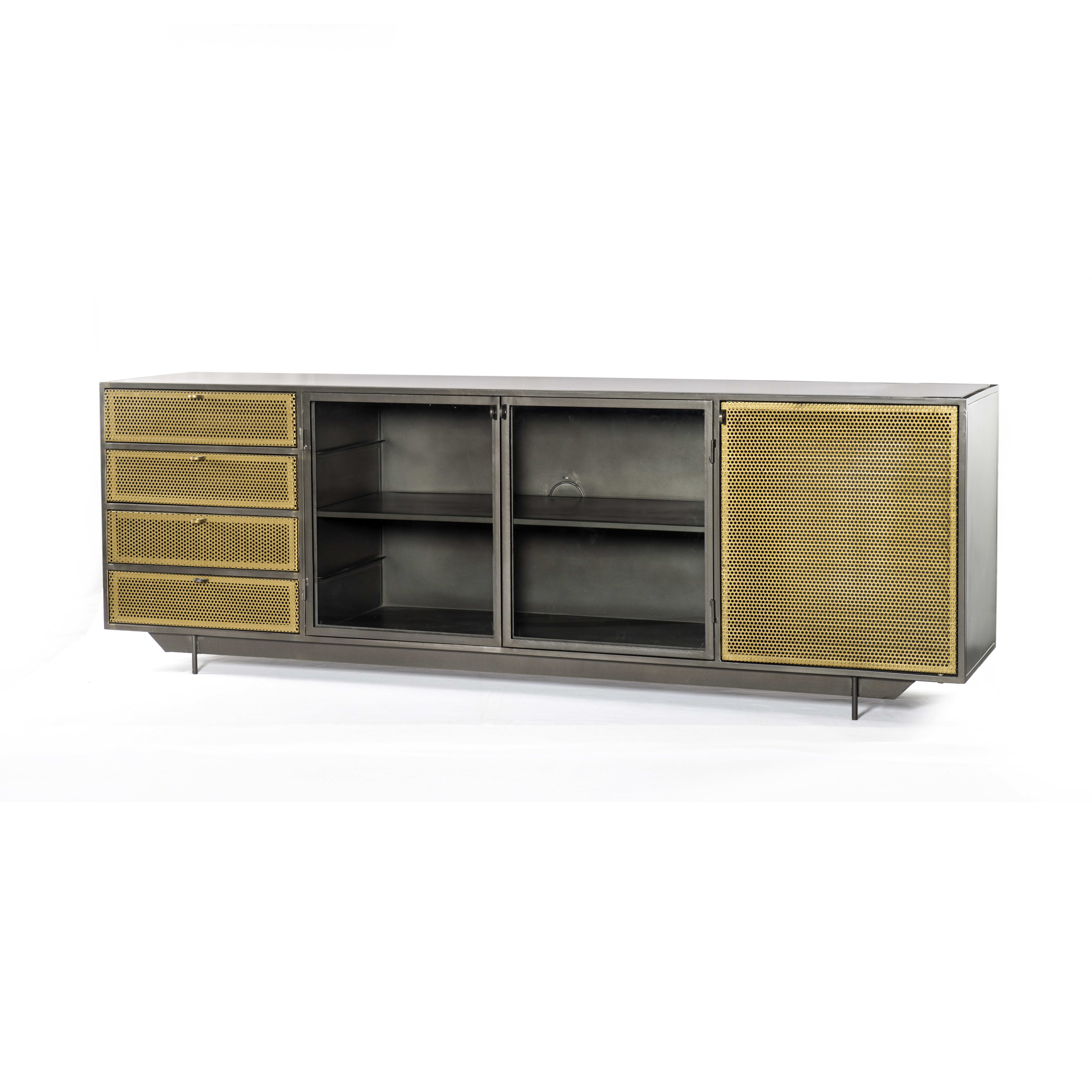 """83"""" L Romolo Media Console Iron Glass Perforated Brass Clear With Regard To Gunmetal Media Console Tables (Gallery 2 of 30)"""
