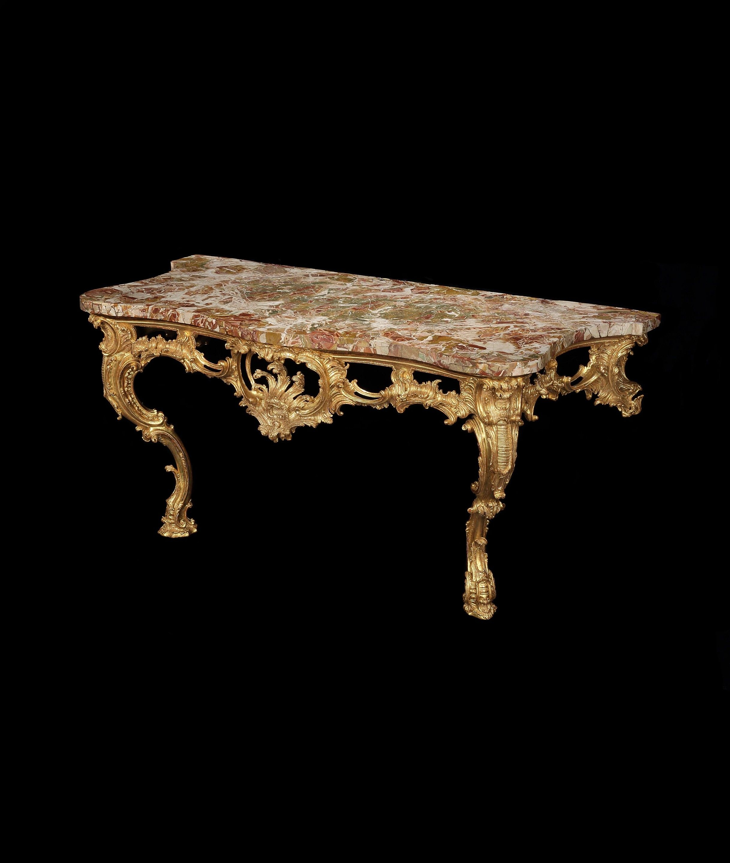 A Large George Ii Giltwood Console Table Attributed To Matthias Lock within Phillip Brass Console Tables (Image 3 of 30)