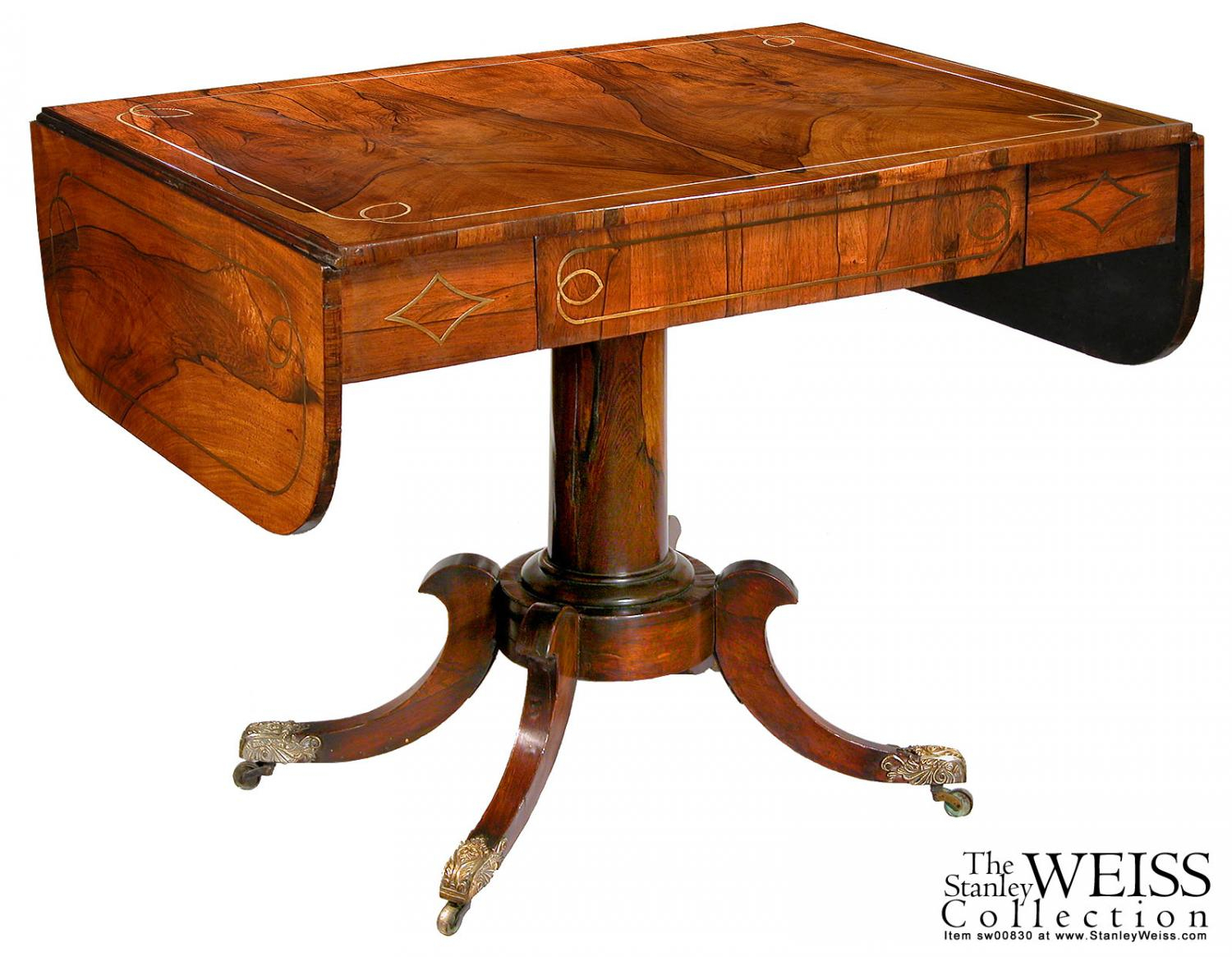 A Regency Rosewood And Brass Inlay Sofa Table, England, C (View 3 of 30)