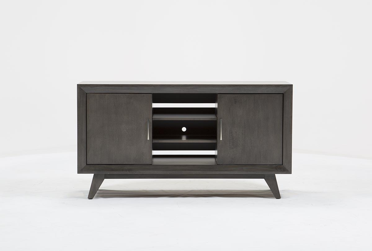 Abbott Driftwood 60 Inch Tv Stand | Living Spaces within Century White 60 Inch Tv Stands (Image 5 of 30)