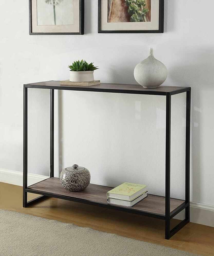 Accent Console Table Furniture Vintage Industrial Rustic Entryway with regard to Ventana Display Console Tables (Image 2 of 30)