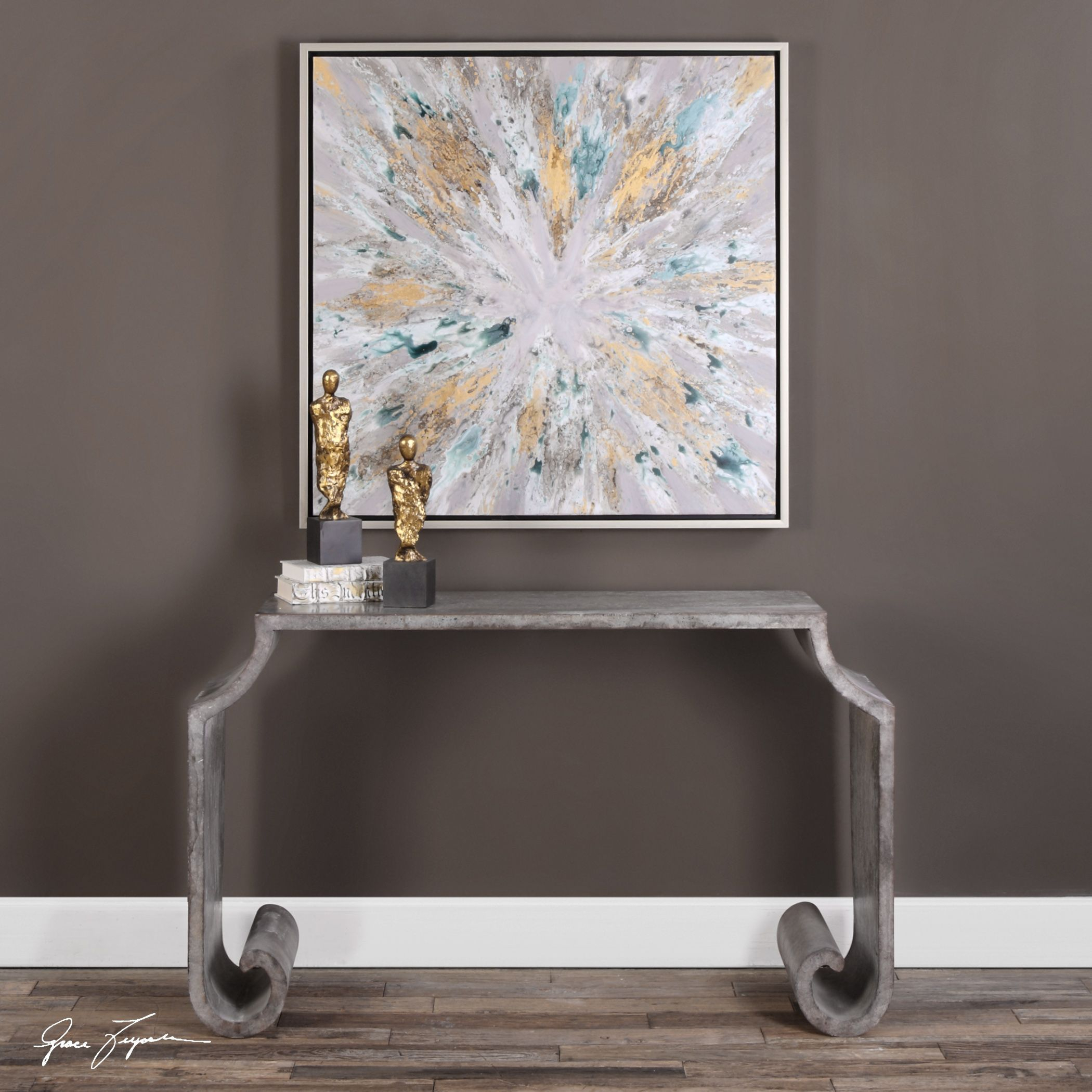 Agathon Stone Gray Console Table | Console Tables, Consoles And Stone inside Parsons Black Marble Top & Stainless Steel Base 48X16 Console Tables (Image 9 of 30)