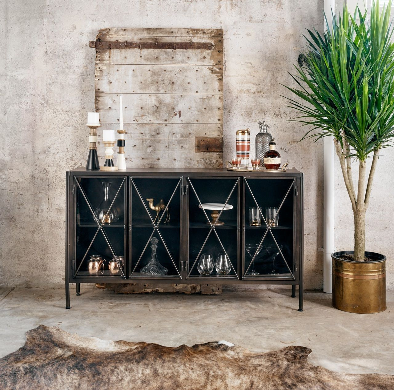 Aged Black Metal Media Console Sideboard | Decorate|Furnishings in Walters Media Console Tables (Image 3 of 30)