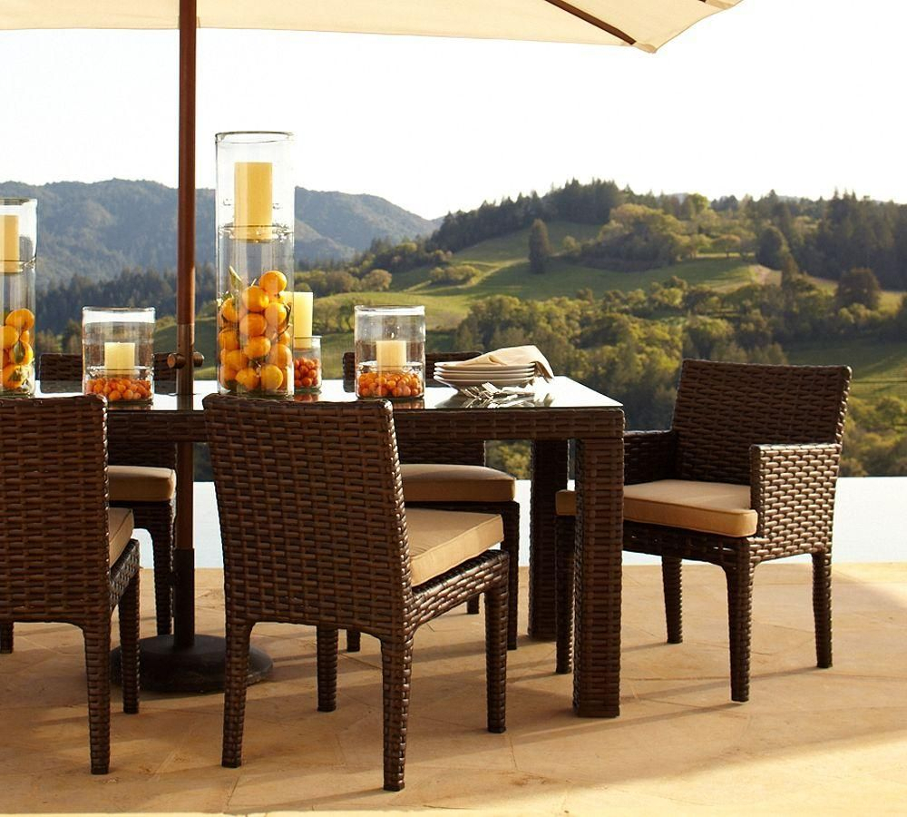 Alcanes Dining Set 045 Studio | Alcanes Outdoor Rattan Furniture throughout Parsons Travertine Top & Dark Steel Base 48X16 Console Tables (Image 6 of 30)